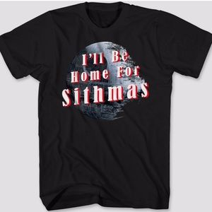 """🆕 Star Wars """"I'll Be Home For Sithmas"""" T-Shirt"""